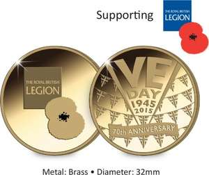 The FREE Official VE Day Medal +£1.50 p&p @ westminstercollection