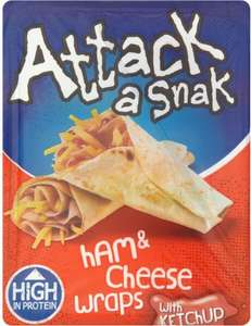 Attack-a-Snak Chicken & Cheese Wraps with BBQ Sauce or Chicken & Cheese Wraps or  Ham & Cheese with Ketchup Wraps (99g) ONLY 97p (Rollback Deal) @ Asda
