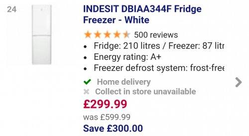 INDESITDBIAA344F Fridge Freezer - White  £299.99 save £300 @ currys