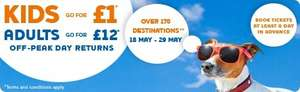 Travel anywhere on the South West Trains network (day return (excluding stations west of Salisbury)) for just £12 per Adult & £1 per Child during half term ( 18th => 29th May)