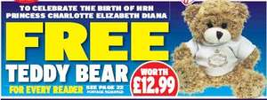 Free Charlotte Teddy Bear (named after the Monkey) with Daily Express (postage cost is £3.30)