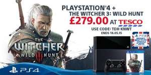 PS4 500GB console with Witcher 3: Wild Hunt £279 with code from Tesco Direct (Free C&C)