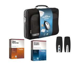 Accessory Bundle (Which includes Trust speakers, Laptop Bag, McAfee Internet Security, McAfee Family Protection and a mouse) - £9.99 - Argos Ebay Outlet