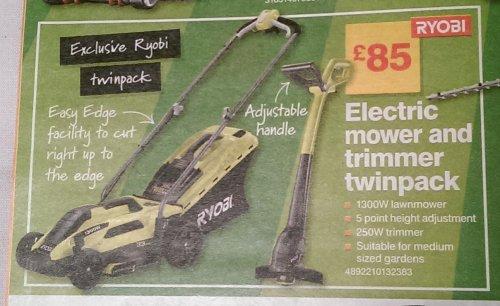 B&Q: Ryobi 1300w Electric Mower & 250w Strimmer Twinpack: £85