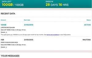 Two months of 100GB of 4G data (total 201GB for 60 days) for just £10 on EE mobile (inc. tethering)