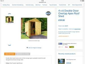 4x6 Wooden apex double door shed £139 @ B & M