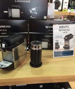 usually £140.00: Nespresso Pixie Expresso Machine AND Aerocinno Milk Frother £114.99 @ TEFAL Braintree store in Braintree outlet shopping centre