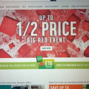 Argos big red event sale back on! Free £10 voucher with £100 spend or £5 with £50 spend !