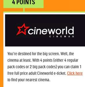 Tic Tac Happy Rewards collect 4 points and get a adult cineworld ticket for the equivalent price of £1.60