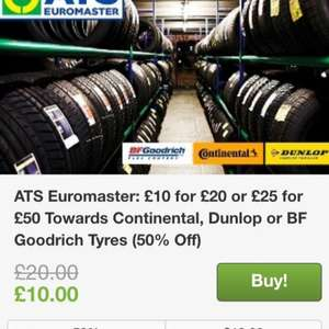ATS EUROMASTER TYRES. £10 for 20 or £25 for £50 deal @ Groupon