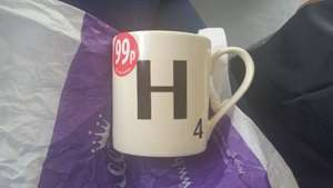 Scrabble mugs reduced from £6.99 to 99p at Cards Galore in store