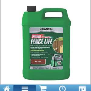 Ronseal Sprayable one coat fence life ( red cedar ) 5Ltr  £5.00 @ Screwfix
