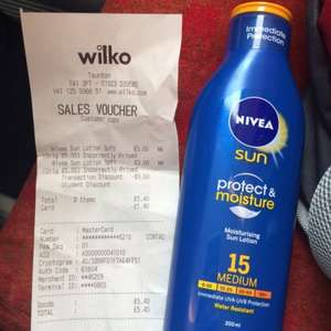 Nivea sun lotion, SPF 15, 30 & 50 for £3 @ Wilko