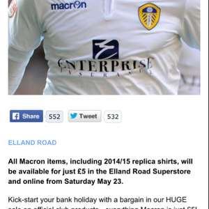 Leeds United 14/15 Replica Kits just £5 available in store & online!