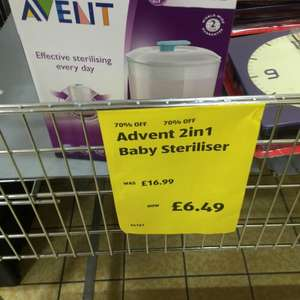 Avent 2in1 baby steriliser £6.49 at aldi