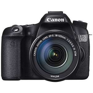 "John Lewis: Canon EOS 70D Digital SLR Camera with 18-135mm IS STM Lens, HD 1080p, 20.2MP, Wi-Fi, 3"" LCD Screen + Memory Card & Shoulder Bag £994.99"