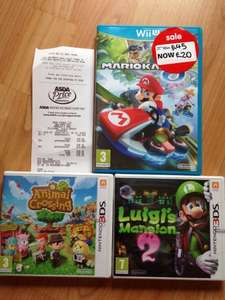Asda clearance. Mario Kart Wii U £20, Luigi's Mansion 2 3DS £10 and Animal Crossing 3DS £10 -  Asda Greater Manchester