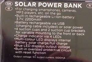LIDL (SilverCrest SLS2200B1 ) Solar, Battery, Charger £11.99 2200 MaH (3 year warranty)