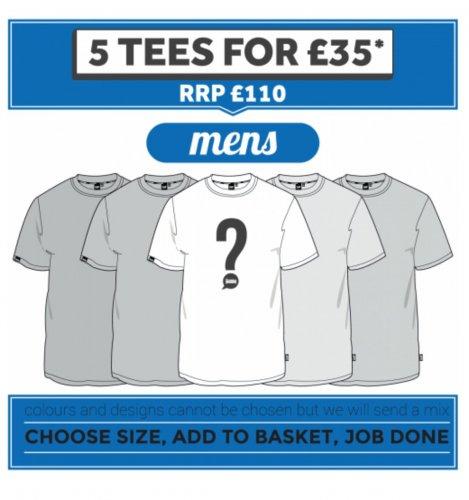 plain lazy t-shirts deal 5 'Mystery' T shirts for £35 @ Plain Lazy