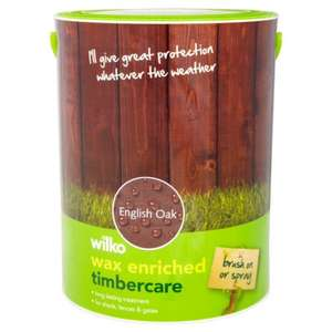 Wilko Wax Enriched Timbercare English Oak 5L £7.00 (online)