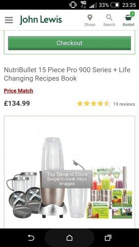Nutribullet 900 Pro £134.99 @ John Lewis