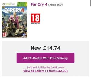 FarCry 4 XB360 & PS3 £14.74 @ GAME