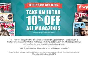 iSubscribe 10% off ALL magazines
