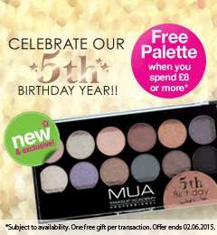 free MUA palette when you spend £8 or more on all MUA only in superdrug
