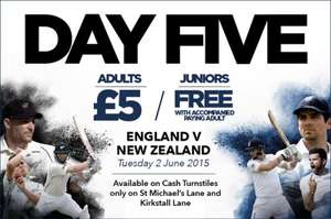Test Cricket Day 5 - England vs New Zealand - Adult £5 @ Headingly - Yorkshire County Cricket Club
