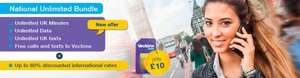 VECTONE £10, UNLIMITED MINS,  UNLIMITED DATA AND UNLIMITED TEXTS  PAY AS YOU GO