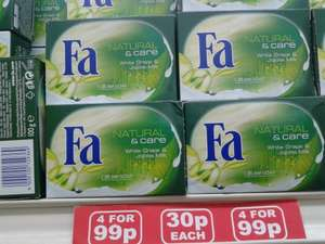 FA NATURAL & care White Grape & Jojoba Milk Cream Soap 100g at 30p each, or 4 x 100g Bars of this Soap for 99p at Sam 99p Stores