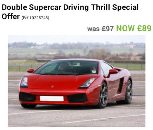 e›Driving ExperiencesDouble Supercar Driving Thrill £89 - Asda Gifts