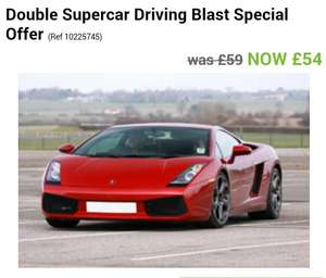 Double Supercar Driving Blast £54 at asda gift