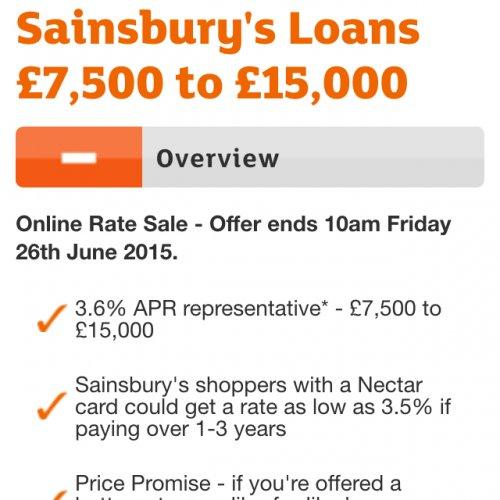 Sainsbury's loan 3.6% APR representative on loans between £7500 - £15000