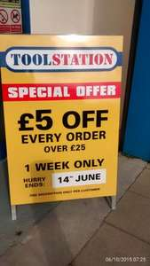 £5 OFF every order over £25 at Toolstation instore
