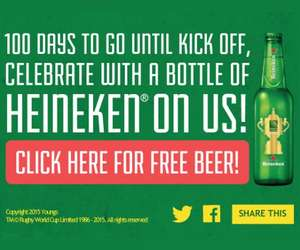 Free Bottle of Heineken @ Youngs Pubs to celebrate the start of the Rugby World Cup