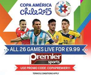 LIVE FOOTBALL for the next 3 weeks for under a tenner! ALL 26 COPA AMERICA matches for £9.99 @ Premier Sports TV (Ch428 on Sky)