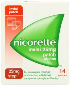 Nicorette Step 1 Invisi Nicotine Patches 25mg Pack of 14 £2.99 Dispatched from and sold by M&B Bargains @ Amazon