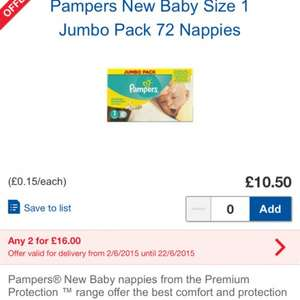 Pampers New Baby nappies Jumbo Pack(2 jumbo boxes for £16 @ Tesco
