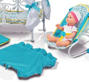 argos silvercross dolls bed,  highchair, changing bag and bouncer £19.99