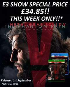 Metal Gear Solid Phantom Pain Day One Edition PS4/Xbox One £34.85 Delivered @ SimplyGames