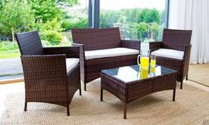 RATTAN GARDEN FURNITURE SET CHAIRS SOFA TABLE OUTDOOR PATIO CONSERVATORY WICKER £106.95 delivered (using code) @ ijinteriors Ebay