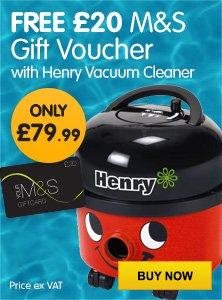 Numatic Henry Vacuum Cleaner 580W £95.99 PLUS a free £20 M&S Voucher @ euroffice