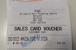 Amazon Fire TV Stick - scanning at £30 in Argos instore (was in Norwich, assuming it's national)