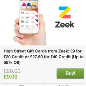 Zeek vouchers £9 for £20 @ Groupon ** Pls DO NOT offer or request referrals **