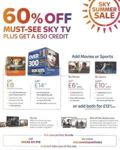 Sky Retention Deal - 60% off all tv packages 1yr, 50% off multiroom, £50 credit
