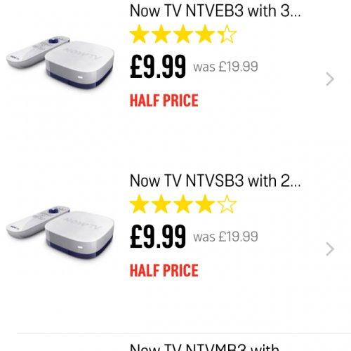 Now TV box with pass £9.99 Argos