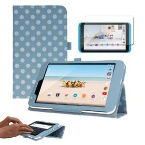 "TECHGEAR® Tesco Hudl 2 8.3"" Premium PU Leather Folio Case Cover with Stand + Complimentary Screen Protector & Screen Cleaning Cloth [BLUE + POLKA DOT] £6.95 (Prime) £10.27 (Non Prime) - TECHGEAR Solutions Fulfilled by Amazon."