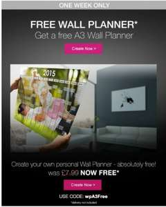 Personalised A3 Wall Planner Free (only £2.99 Delivery) @ printerpix