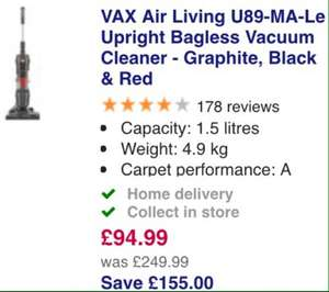 VAX Air Living U89-MA-Le Upright Bagless Vacuum Cleaner - Graphite, Black & Red @ currys - - £94.99